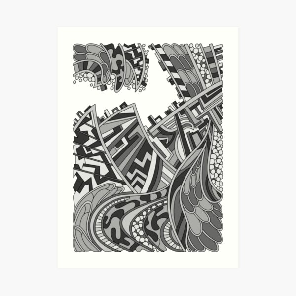 Wandering Abstract Line Art 01: Grayscale Art Print