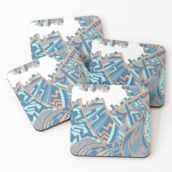 Wandering Abstract Line Art 01: Blue Coasters (Set of 4)