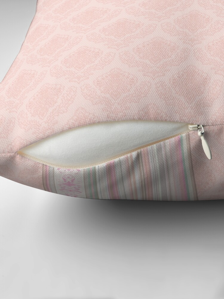Alternate view of Faux Flock with Contrasting Stripes - Flesh Pink Throw Pillow