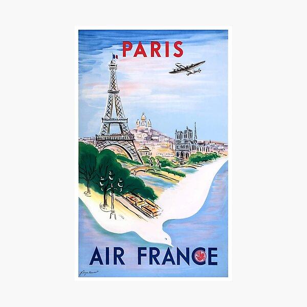 1950 Air France Paris Travel Poster Photographic Print
