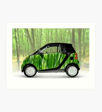 Green Mini Car Smart Fortwo in the Nature Art Print