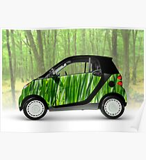 Green Mini Car Smart Fortwo in the Nature Poster