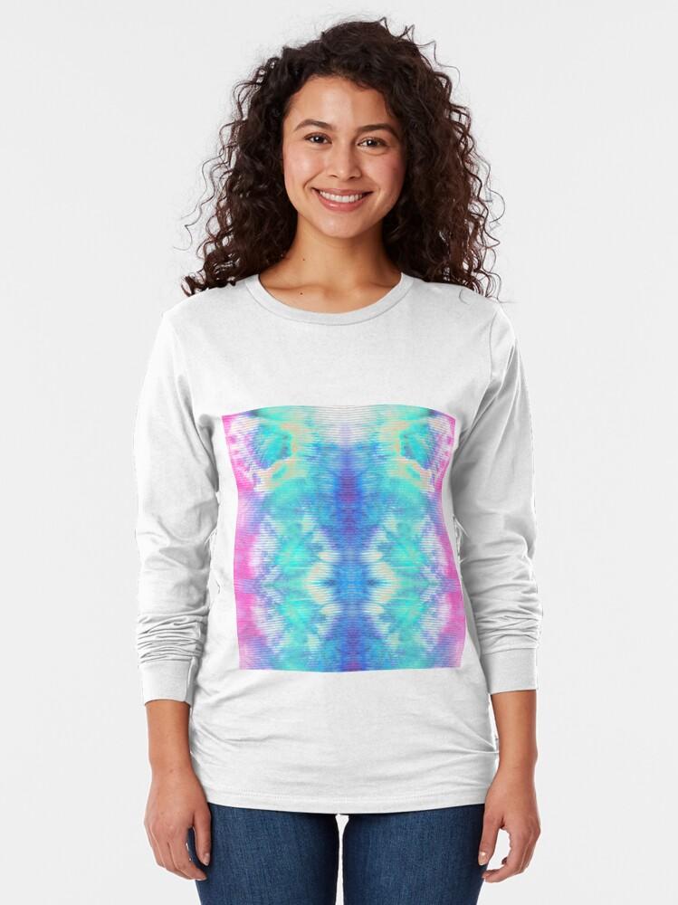 Alternate view of Pastel Rainbow Oxford Shibori Long Sleeve T-Shirt