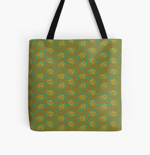 Yellow flower clusters floral pattern on mustard  All Over Print Tote Bag