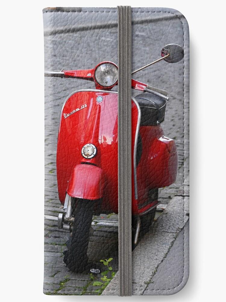 'Vintage Vespa, Red' iPhone Wallet by Alexandra Lavizzari