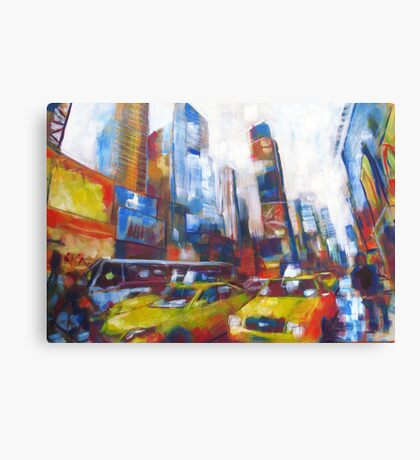 Times Square Yellow Taxi Cabs New York painting Canvas Print
