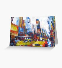 Times Square Yellow Taxi Cabs New York painting Greeting Card