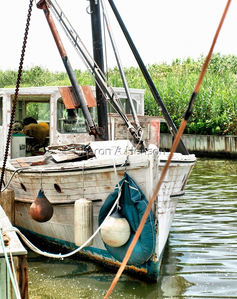 Old Boat Docked On The River by Sharon A. Henson