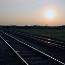 Sunset gleam off the rails, Whittlesay by ShroomIllusions