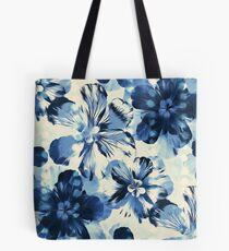 Shibori inspiriert übergroßen Indigo Floral Tote Bag