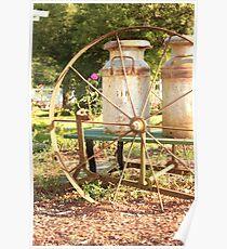old garden wheel cart Poster