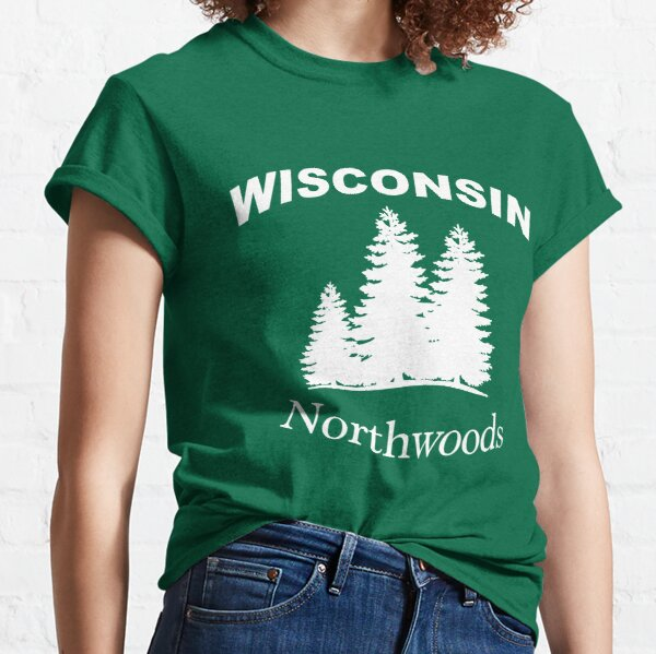 Wisconsin Northwoods Pine Tree Design Classic T-Shirt