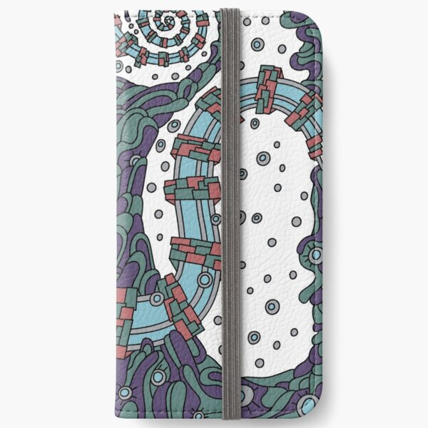 Wandering Abstract Line Art 02: Blue iPhone Wallet