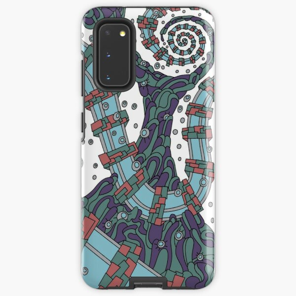 Wandering Abstract Line Art 02: Blue Samsung Galaxy Tough Case