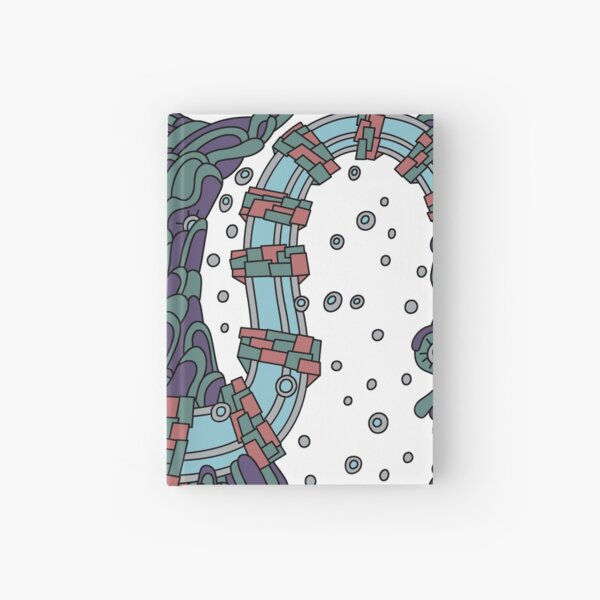 Wandering Abstract Line Art 02: Blue Hardcover Journal