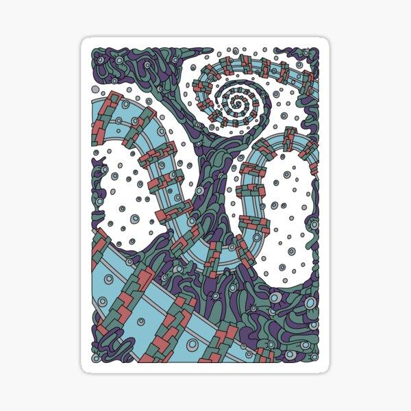 Wandering Abstract Line Art 02: Blue Sticker