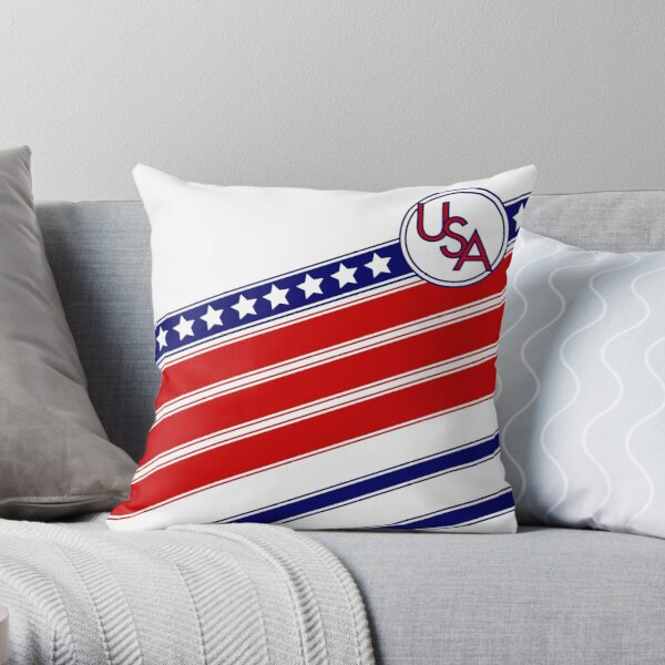 USA Retro Soccer Throw Pillow