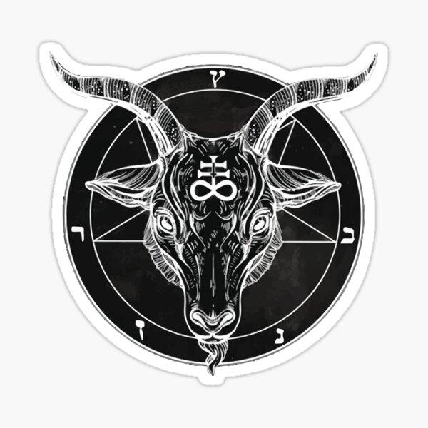 Black and white illustration of Baphomet, the goat satanic demon Sticker