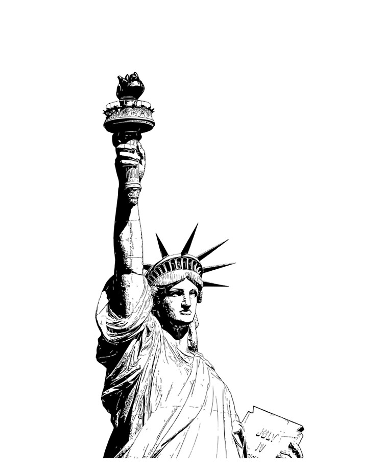 Liberty Statue Of Liberty Illustration Black And White Line Drawing Ipad Case Skin By Tomsredbubble Redbubble