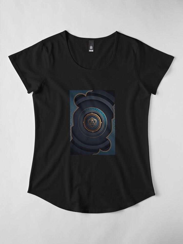 Vista alternativa de Camiseta premium de cuello ancho Fantasy Polyhedral D20 Dice Lock