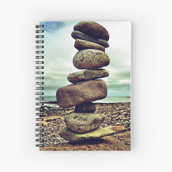 Stacking stones on Kintyre West Coast Spiral Notebook