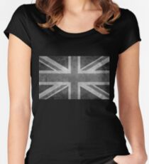 Union Jack Vintage 3:5 Version in grayscale Women's Fitted Scoop T-Shirt
