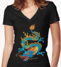 Blue-yellow Oriental Dragon Women's Fitted V-Neck T-Shirt