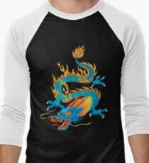 Blue-yellow Oriental Dragon Men's Baseball ¾ T-Shirt