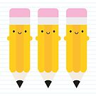 Happy Kawaii Pencils by Marceline Smith