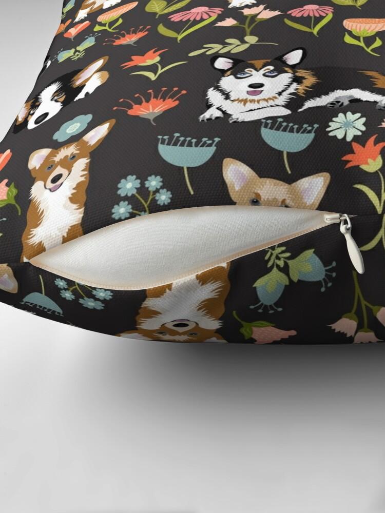 Alternate view of Cute Summer Corgi Flower Pattern Throw Pillow