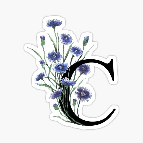 Initial Letter 'C' Cornflower Monogram Typography Sticker