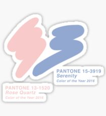 Pantone Rose Quartz 13-1520 and Serenity 15-3919 (Colors of the Year 2016) on White Background Sticker