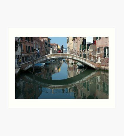 Crossing the Bridge, Venice, Italy Art Print