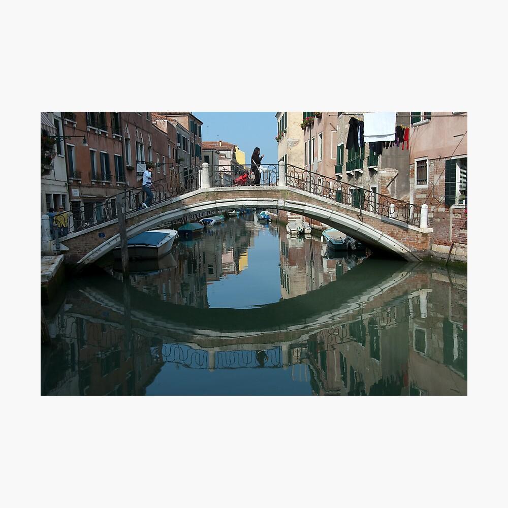 Crossing the Bridge, Venice, Italy Photographic Print