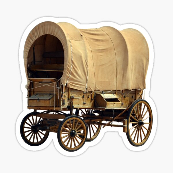 Pioneers. American Covered Wagon, USA. Sticker