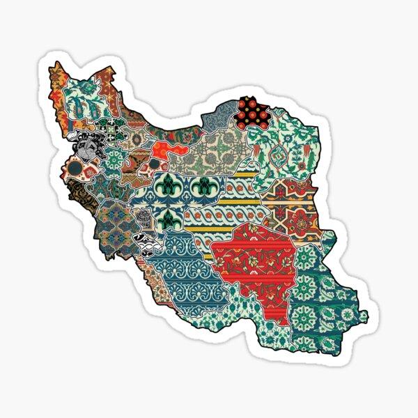 Map of Iran with Iranian Patterns/Designs/Motifs Sticker