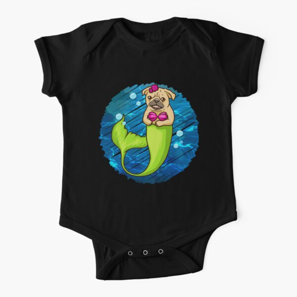 Magical Mermaid MerPug Infant Baby Short Sleeve Bodysuit Romper