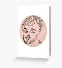 Matthew Gray Gubler contour one line drawing Greeting Card