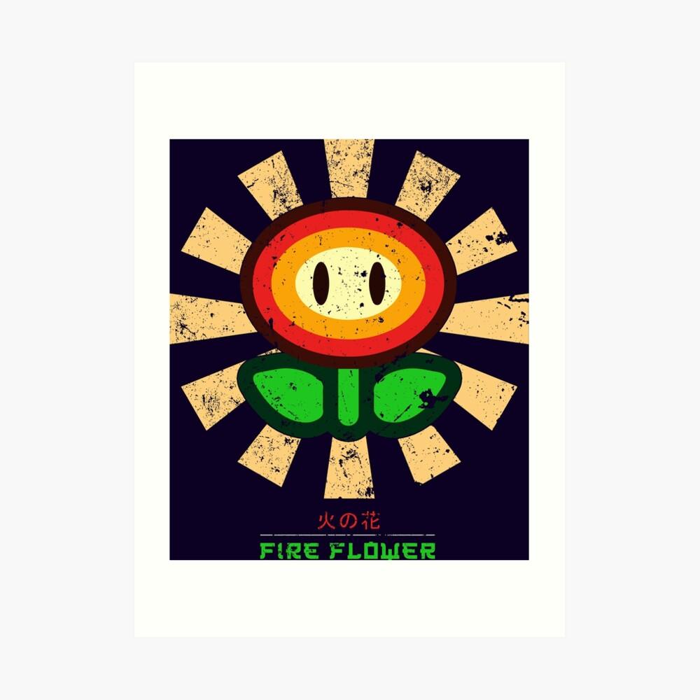 Feuerblume Retro Japaner Mario Kunstdruck
