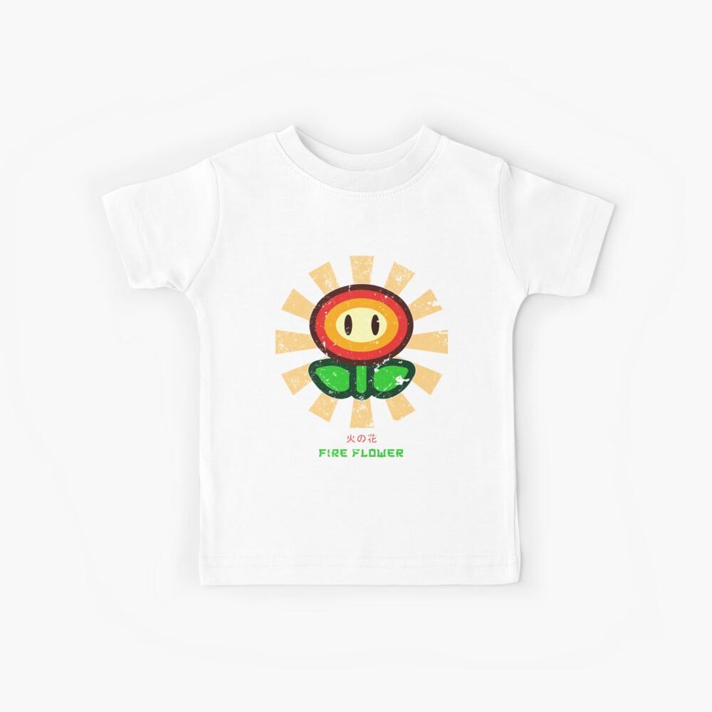 Feuerblume Retro Japaner Mario Kinder T-Shirt