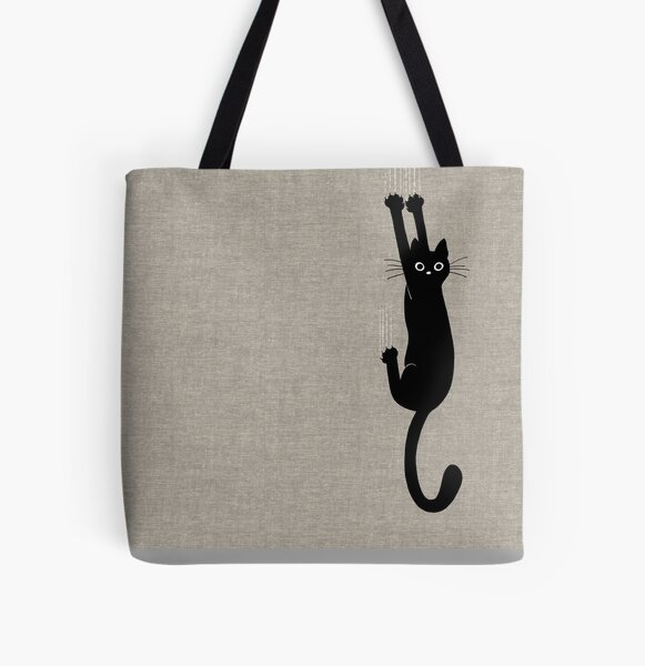 Black Cat Holding On All Over Print Tote Bag