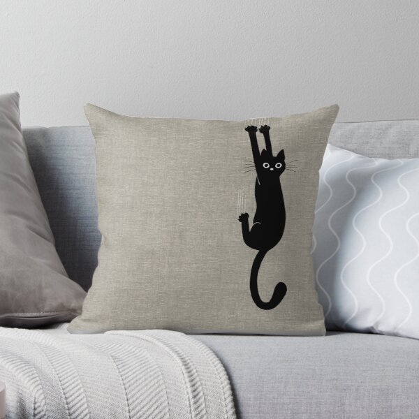 Black Cat Holding On Throw Pillow