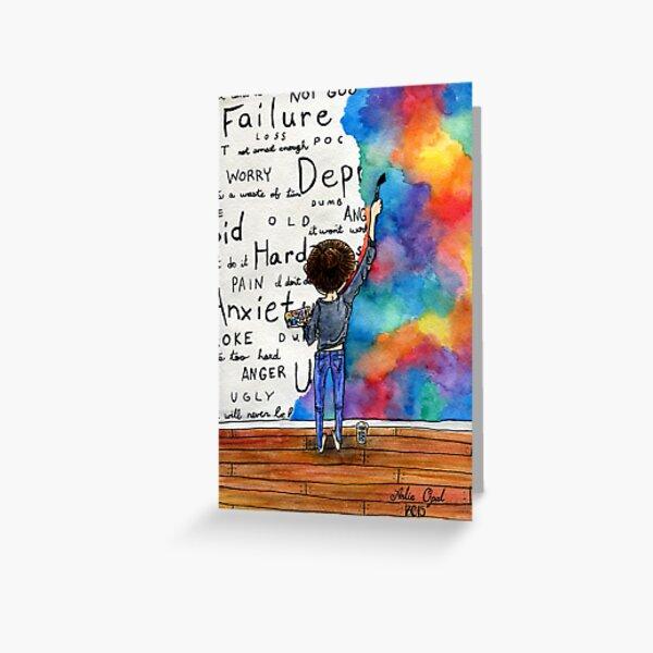 Always Keep Fighting Watercolor Painting (2015) REVAMP Greeting Card