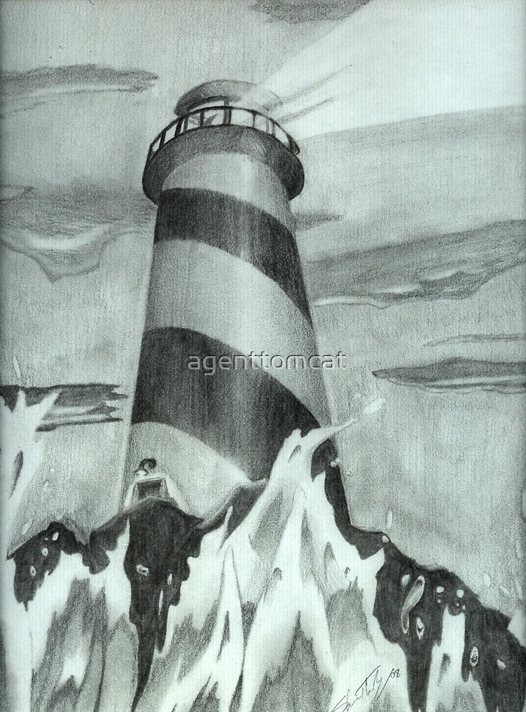 A lighthouse in pencil by agenttomcat