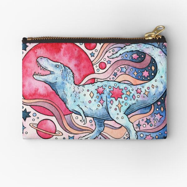 Star Rex | Cosmic Dinosaur Watercolor Zipper Pouch