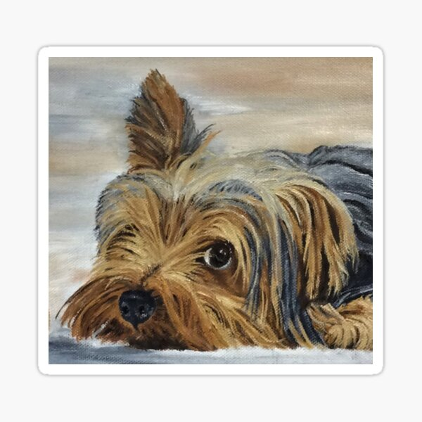 Yorkie Devotion Greeting Card (Blank) Sticker