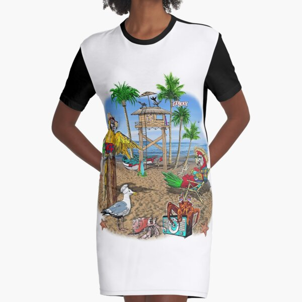 Parrot Beach Party Graphic T-Shirt Dress
