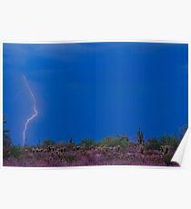 Lightning Bolt Strike in The Desert Poster