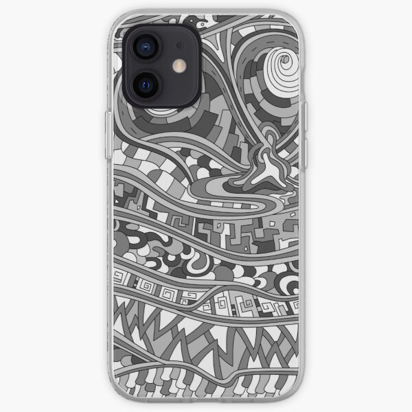 Wandering Abstract Line Art 03: Grayscale iPhone Soft Case
