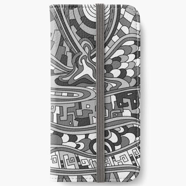 Wandering Abstract Line Art 03: Grayscale iPhone Wallet